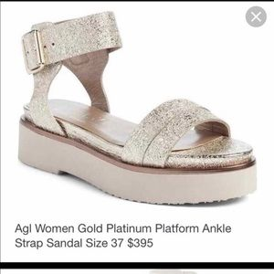 AGL Platform Sandal Gold Silver Shimmer Leather